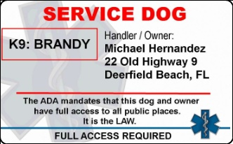 Service dog pvc id badge no photo for Service dog id template
