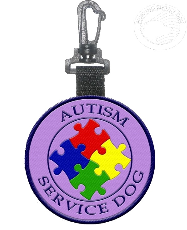 Sided autism service dog identification patch tag