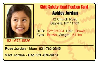 Working Service Dog Child Id Card