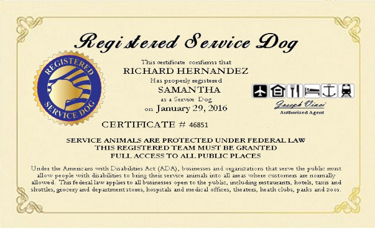 Service dog certificate template 2017 example service dog for Dog certificate template