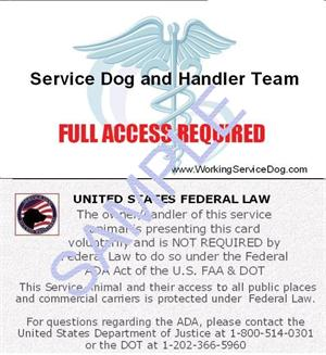 service animal certificate template - ada faa service dog information cards