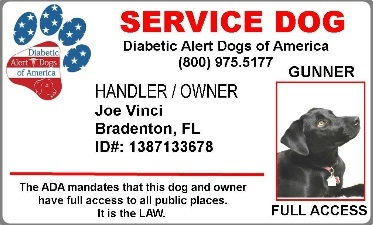 diabetic alert dogs of america official id card. Black Bedroom Furniture Sets. Home Design Ideas