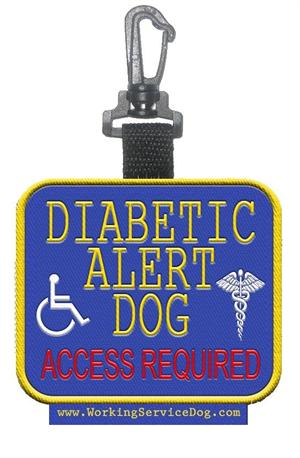Diabetic Alert Dog  Access Required Patch Tag