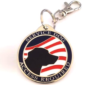 Service Dog with American Flag tag