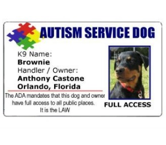 Autism Service Dog PVC ID Badge