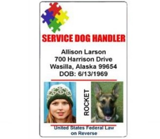 service dog handler id card autism layout