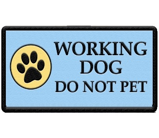 working dog do not pet paw print patch