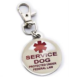 Service Dog clip on patch tag to hang from a collar or vest