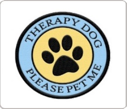therapy dog please pet me patch with a paw print