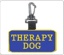 therapy dog clip on patch tag for collar or leash
