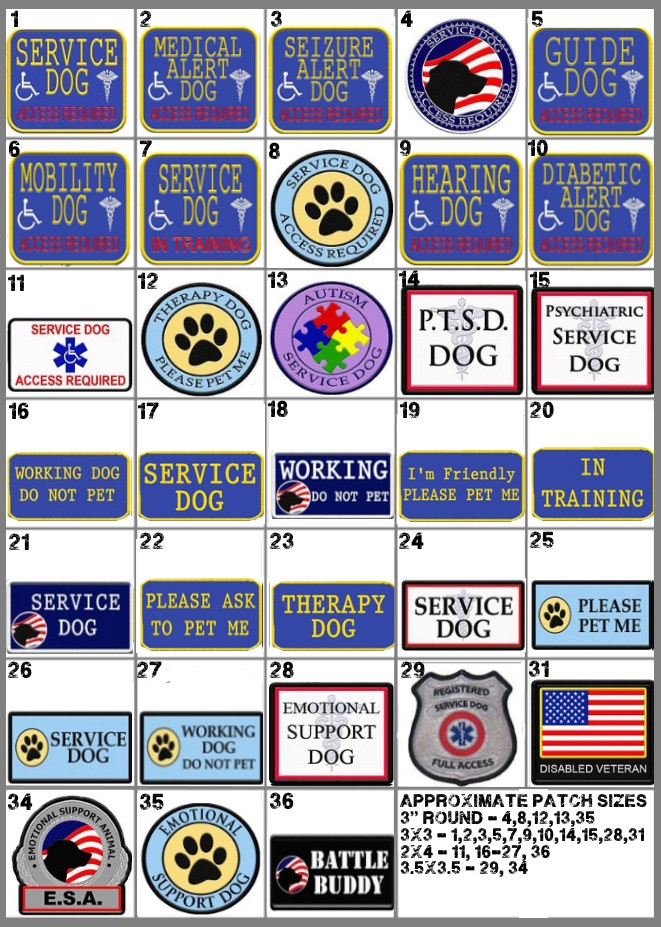 """Service dog """"in training"""" embroidered velcro patches (set of two."""