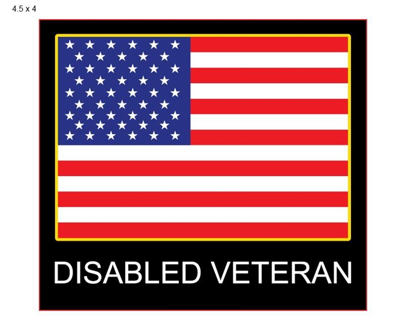 Disabled Veteran Window Decal Patriotic Attach To Your