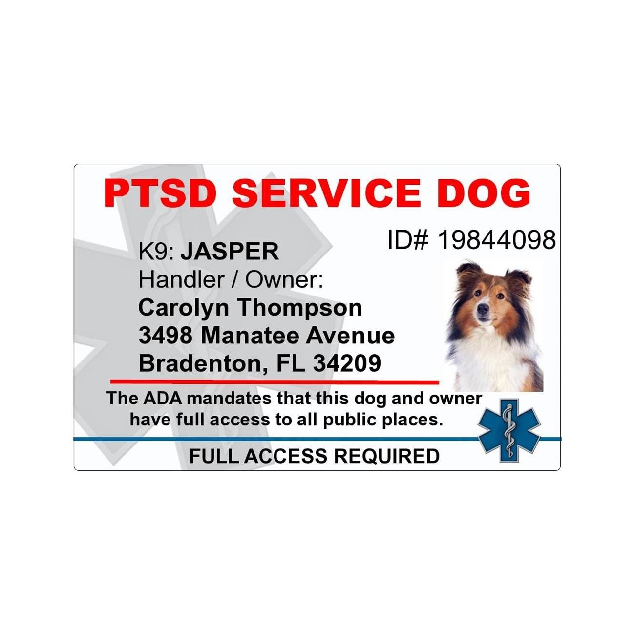 8f7194894ae7 PTSD Service Dog PVC ID Badge - 2 Sided - Star of Life