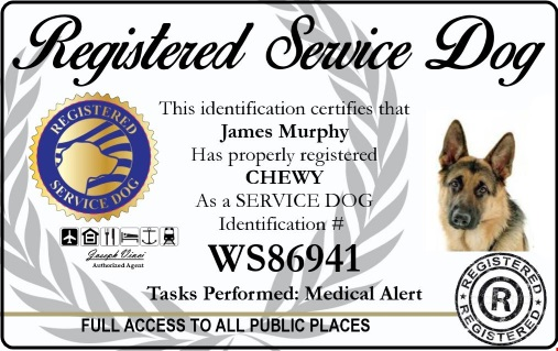 registered service dog id badge and shield - identify your service dog