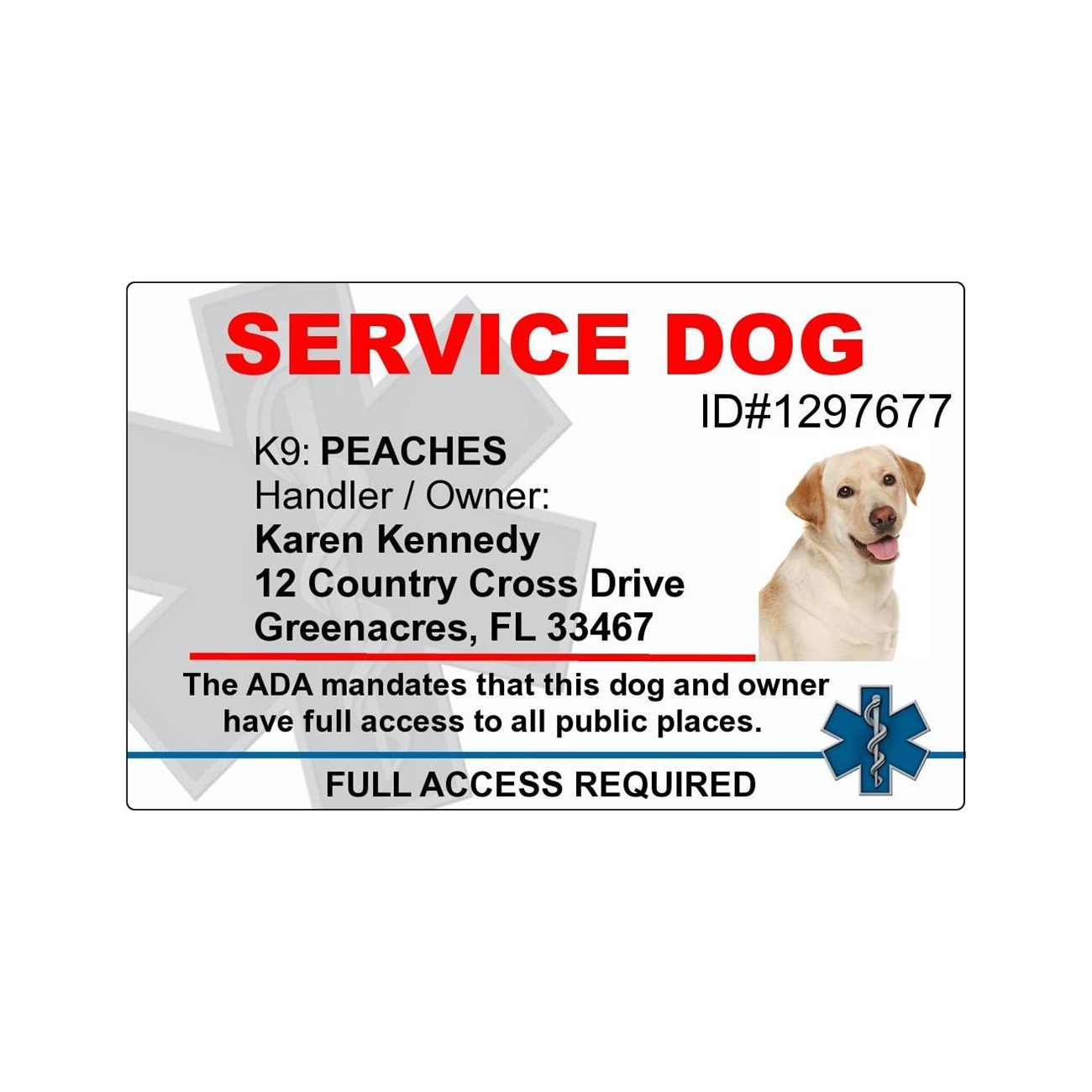 13976ca23eb5 Service Dog ID Tags for Working Dogs | ID Badge for your Service Dog