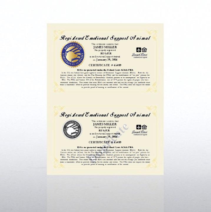 Registered Emotional Support Animal Certificate Us Registration