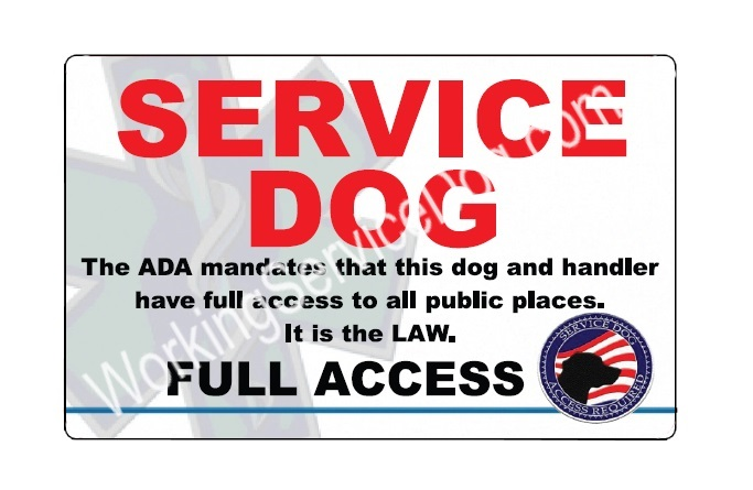 Service Dog Full Access ID Card | Full Access Identification for ...