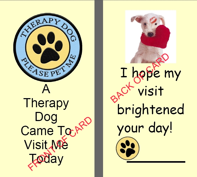 Therapy dog business cards your dogs business cards therapy keepsake card colourmoves