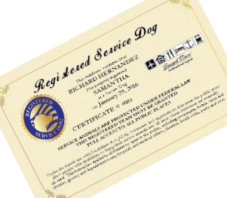 Registered Service Dog Certificate