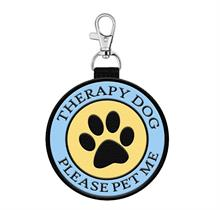 therapy dog please pet me hanging patch tag