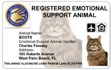 Registered Emotional Support Animal Customized Cat ID Card