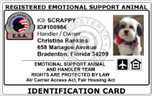 Registered Emotional Support Animal Customized ID Card