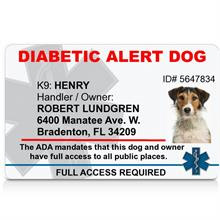 diabetic alert dog id card