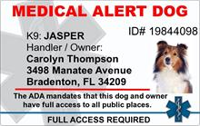 Medical Alert Dog PVC ID Badge - 2 Sided - Star of Life