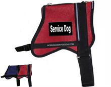 Red Mesh Service Dog Vest - Black and White Patches