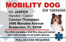 Mobility Dog PVC ID Badge - 2 Sided - Star of Life