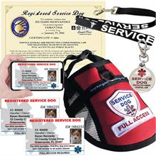 Premium service dog kits which include ID Card, certificate and service dog vest