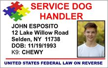 Autism Service Dog Handler ID Card