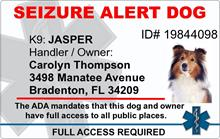 Seizure Alert Dog PVC ID Badge - 2 Sided - Star of Life