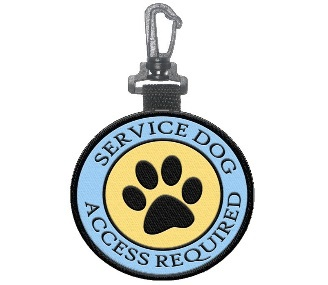 Service Dog Access Required Paw Print  Patch Tag