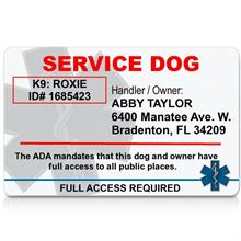 Service Dog ID Card No Photo