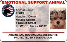 Emotional Support Animal Customized ID Card