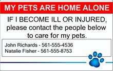 Pets Home Alone ID Card