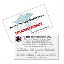 Service Dog Federal Laws Informational Handout Cards